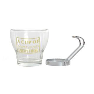 CUP SET 3 GLASS METAL 140 CC.