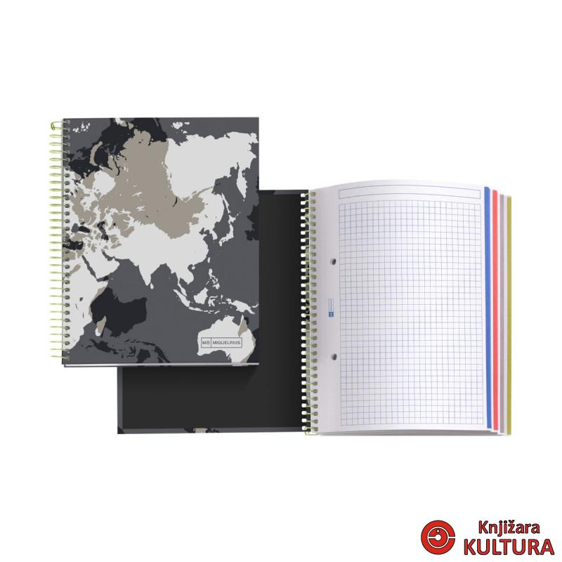 SVESKA A5 140 SQU WORLD MAP MR